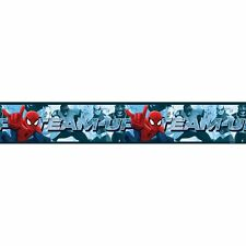 SPIDERMAN TEAM UP 5M LONG ADHESIVE WALLPAPER BORDER KIDS BOYS BEDROOM NEW
