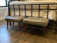 Midcentury modern ottoman - foot stools - pair - set of TWO