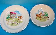 Copeland Spode England Pets Farm #03365 Plate & Bowl Cow Lamb Dog Pony White