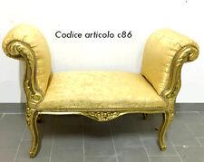 Dormeuse divano divanetto panchetta in foglia oro tessuto damascato legno c86