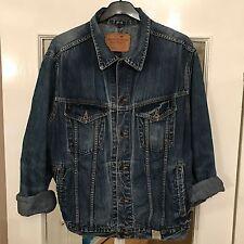 Homme Grand Abercrombie and Fitch en jean effet vieilli Veste Bleu A11