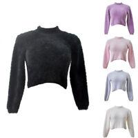 Women Woolen Sleeve Warm Jumper Pullover Fuzzy Sweater Fall Winter Tops