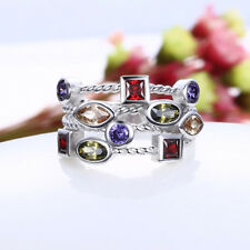925 Silver Amethyst Ruby Morganite Peridot Gemstone Birthstone Ring Size 6-10