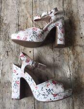 M&S INSOLIA ~ Ladies Block Heel Platform FLORAL Summer Sandals ~Sz 7/40.5~ NEW