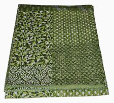 Indian Queen Size Multi Color Patchwork Kantha Quilt Reversible Bedspread Throw