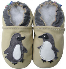 carozoo cream  penguin 2-3y new soft sole leather toddler shoes