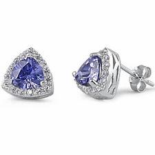 TRILLION SHAPE TANZANITE & CZ .925 Sterling Silver Earring
