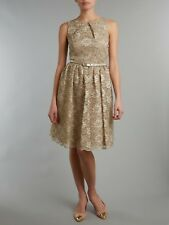 Eliza J Metallic Lace Prom Dress Gold Size UK 8 rrp £160 LF081 DD 23