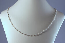 """Greenwood Designs Natural White Pearl Sterling Silver Chain Beaded Necklace 18"""""""