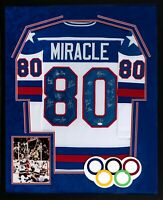 1980 USA Hockey Miracle On Ice Signed Framed Jersey 17 Signatures JSA Witness