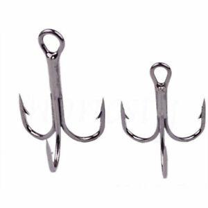 20/50X White Fishing Carbon Steel Treble Hooks Fishhook Tackle 2/4/6/8/10/12/14#