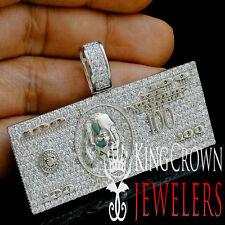 Mens Real 14K White Gold Over Silver Cash $100 Bill Money Simu Diamond Pendant