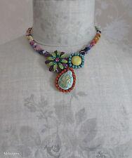Collana con fiore BOHM vintage oro/Lime/Rosa/Turchese Swarovski Smalto Nuova Con Etichetta