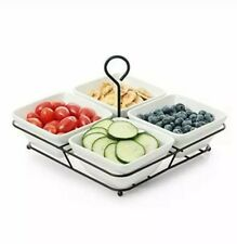 4 Piece Condiment Server Set, Tabletop Serving Trays for Parties, Serving