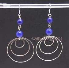 Sale Fashion 8-10mm Blue Natural Jade & 3 piece metal Ring 3.5'' Earring-ear620