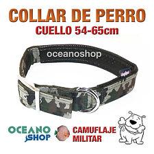 COLLAR PERRO CAMUFLAJE MILITAR AJUSTABLE DE CALIDAD CUELLO 54-65cm L56 3216