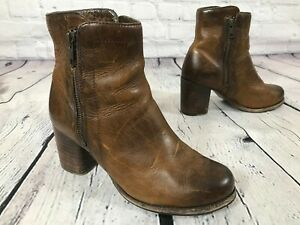 FRYE Addie Double Zip 76628 Whisky Brown Leather Moto Boots Women's Size 6 B