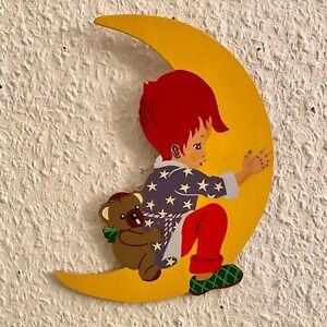 Märchen-Holzbild ALT 1960er 21cm Mertens-Kunst Peterchens Mondfahrt Bassewitz
