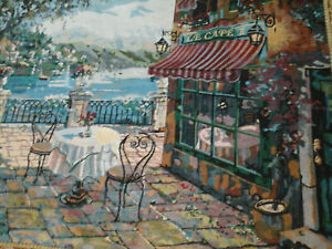 wall tapestry Le Cafe French street scene 33 X 43