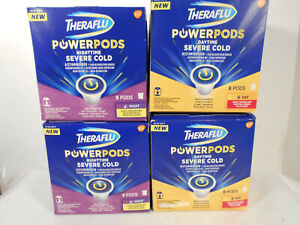 LOT of 4 Theraflu Nighttime AND Day Severe Cold Power 32 Pods  Congestion Cough