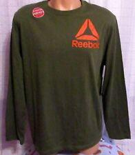 Reebok Men Spell Out Logo T-Shirt Size Large Long Sleeve Green