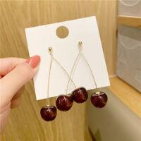 Cherry Drop Earring Sweet Fruit Long Crystal Earrings for Women Lady Gift Hot.