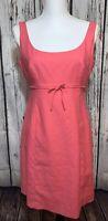 J Crew Womens Pink Empire Waist Dress Size 8P Cotton Stretch Sleeveless Zip Back
