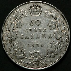 1934 Canada 50 Cents King George V Silver #15136