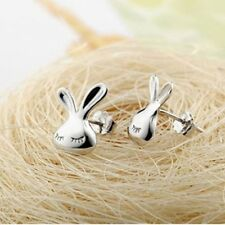 Super Silver Lovely Plated White Appearance Kid Stud Cute Rabbit Earrings