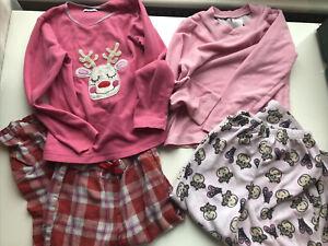 F&F Girls Pink Red Reindeer Xmas Fleece PJ Nightwear Set x 2 Bundle 5-6 Years