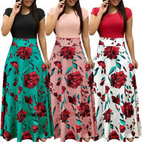 Women Summer Floral Printed Short Sleeve Maxi Dress Long Sundress Beach Fashion