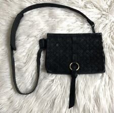 Nanette Lepore Black Quilted Suede Leather Convertible Crossbody Bag Clutch
