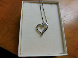Kay Jewelers Heart Lab-Created White Sapphire Pendant Necklace NEW