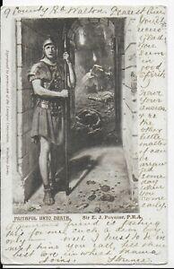 "RARE GENUINE VINTAGE POSTCARD,ARTIST SIR E.J.POYNTER""FAITHFUL UNTO DEATH""1903"