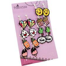 Cartoon Art Clip on Dangle Drop Earrings, Lot of 8 Pairs, for Teen Girls Kids