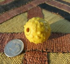 Huge Rare 21mmX23mm Antique Venetian Lamp Wound Yellow Raised Eye Trade Bead