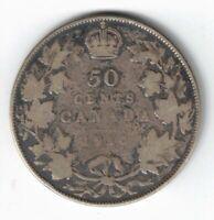 CANADA 1910 50 CENT EDWARDIAN LEAVES HALF DOLLAR EDWARD VII STERLING SILVER COIN