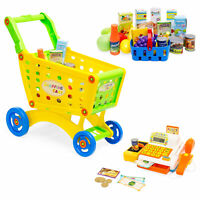 BCP 27-Piece Kids Pretend Play Grocery Shopping Cart and Cash Register Toy Set