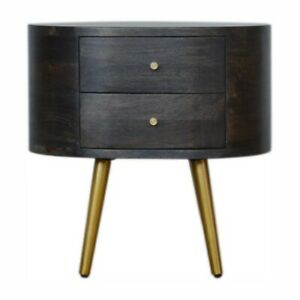 Ash black bedside table Art Deco with brass legs x 2