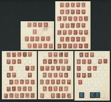 More details for gb qv stamps 1864-1879 qv 1d red plates used on imperial stamp album pages