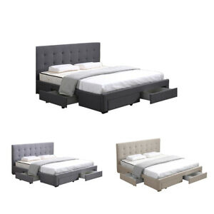 Levede Bed Frame Double Queen King Fabric With Drawers Storage Wooden Mattress