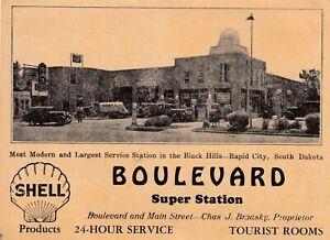 "SHELL ""boulevard super station"", RAPID CITY, SOUTH DAKOTA  1930s ad card"