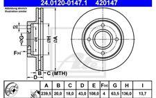 ATE Juego de 2 discos freno Antes 239,5mm ventilado para FORD FIESTA