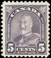 1930 Mint NH Canada F+ Scott #169 5c King George V Arch/Leaf Stamp