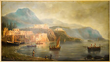 Tableau, peinture, huile/toile, marine, Ecole Napolitaine du XVIII ème siècle.