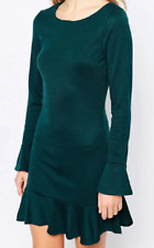 Madam Rage Green Long Sleeve Peplum  With Pep Hem Dress Size 8
