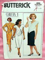 Uncut Butterick Sz 14-18 Mock-Wrap Shaped Hem Bodice Evening Dress Pattern 3852