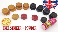 Wooden Carrom Board COIN'S Counters 9 Black 9 white 2 Red Striker Powder