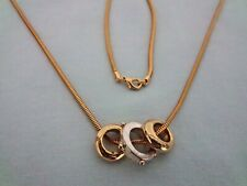 "Necklace Jewelry Rings on 28"" Snake Chain Gold & Silver Tone 3 Rings w/Gems"