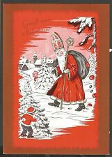 Santa Claus in The Forest with Voyeuring Children, Christmas,Old Pc 70's or 80's
